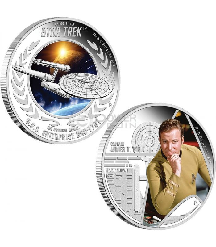 Captain Kirk Enterprise Starship Star Trek Two Silber Münze Set 1