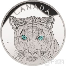 COUGAR EYES Turquoise Enamel 1 Kg Kilo Silver Coin 250$ Canada 2015