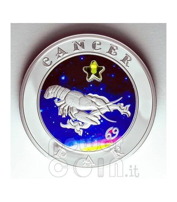 CANCER Horoscope Zodiac Zircon Silber Münze Armenia 2008