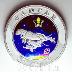 CANCER Horoscope Zodiac Zircon Moneda Plata Armenia 2008
