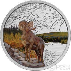 BIGHORN SHEEP Rocky Mountains Silver Proof Coin 1 oz 20$ Canada 2015