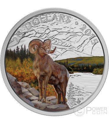 BIGHORN Pecora Montagne Rocciose Moneta Argento Proof 1 oz 20$ Canada 2015