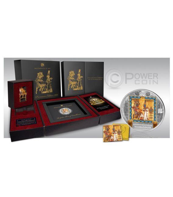 GOLDEN THRONE Tutankhamen Masterpieces Of Art 3 Oz 20$ Silver 25$ Gold Coins Cook Islands 2015
