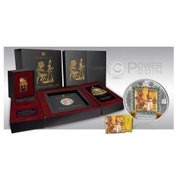 GOLDEN THRONE Tutankhamen Trono Dorato Masterpieces Of Art 3 Oz 20$ Moneta Argento 25$ Oro Cook Islands 2015