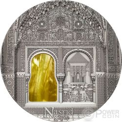 TIFFANY ART NASRID STYLE Alhambra Granada 2 Oz Moneda Plata 10$ Palau 2015