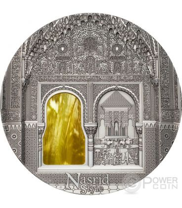 TIFFANY ART NASRID STYLE Alhambra Granada 2 Oz Silver Coin 10$ Palau 2015
