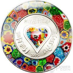 MURRINE MILLEFIORI GLASS ART Venetian Murano Silver Proof Coin 5$ Cook Islands 2015