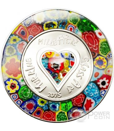 MURRINE MILLEFIORI GLASS ART Murrina Vetro Murano Moneta Argento 5$ Cook Islands 2015