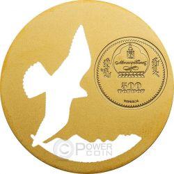 FALCO MONGOLO SACRO Falcon Cherrug Nature Moneta Argento 500 Togrog Mongolia 2015