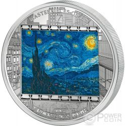 STARRY NIGHT Notte Stellata Vincent Van Gogh Masterpieces of Art 3 Oz Moneta Argento 20$ Cook Islands 2015
