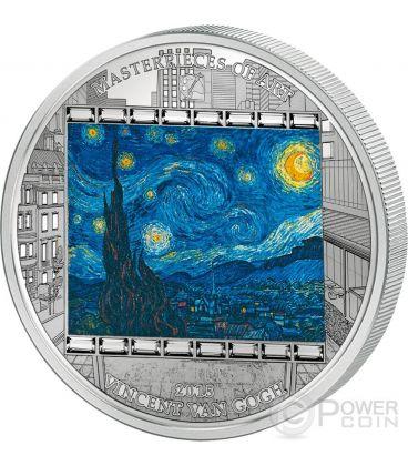 STARRY NIGHT Notte Stellata Vincent Van Gogh Masterpieces of Art 3 Oz Moneta Argento 20$ Cook Islands 2015
