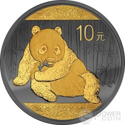 GOLDEN ENIGMA Panda Black Ruthenium 1 Oz Silver Coin 10 Yuan China 2015