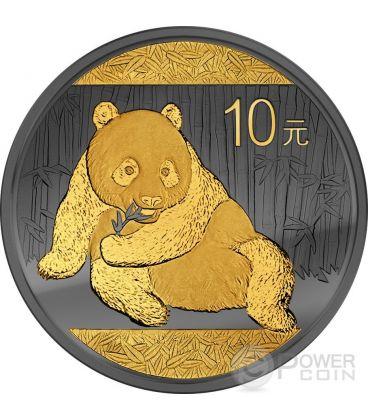 GOLDEN ENIGMA Panda Nera Rutenio Moneta Argento 10 Yuan Cina 2015