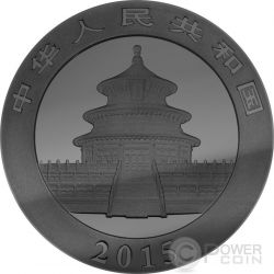 GOLDEN ENIGMA Panda Black Ruthenium 1 Oz Moneda Plata 10 Yuan China 2015