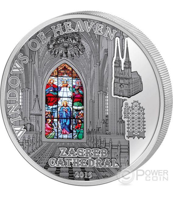 WINDOWS OF HEAVEN Cattedrale Zagabria Kaptol Moneta Argento 10$ Cook Islands 2015