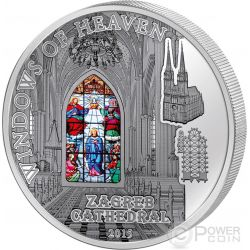 WINDOWS OF HEAVEN ZAGREB CATHEDRAL Kaptol Silber Münze 10$ Cook Islands 2015