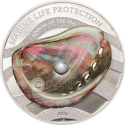 PEARL Rainbow Of The Sea Marine Life Silber Münze 5$ Palau 2015