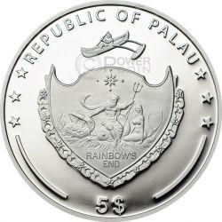PEARL Rainbow Of The Sea Marine Life Silver Coin 5$ Palau 2015