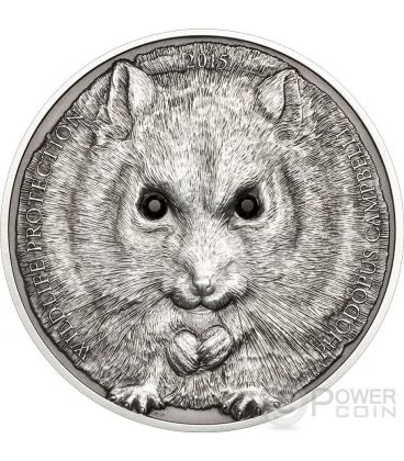 CAMPBELL HAMSTER Dwarf Wildlife Protection Silver Coin 500 Togrog Mongolia 2015