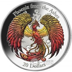 PHOENIX From The Ashes High Relief 3 Oz Silver Coin 20$ Cook Islands 2015