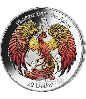 FENICE Phoenix From The Ashes Alti Rilievi Moneta Argento 3 Oz 20$ Cook Islands 2015