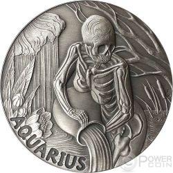 AQUARIUS Memento Mori Zodiac Skull Horoscope Moneda Plata 2015