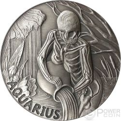 AQUARIUS Memento Mori Zodiac Skull Horoscope Silber Münze 2015