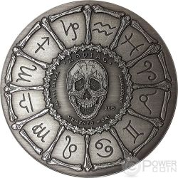 AQUARIUS Memento Mori Zodiac Skull Horoscope Серебро Монета 2015