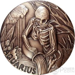 AQUARIUS Memento Mori Zodiac Skull Horoscope Copper Moneda 2015