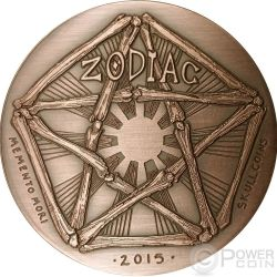 AQUARIUS Memento Mori Zodiac Skull Horoscope Copper Монета 2015