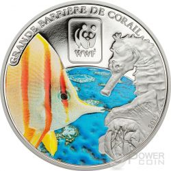 GREAT BARRIER REEF WWF World Wildlife Fund Moneda 100 Francs Central African Republic 2015
