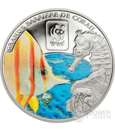GREAT BARRIER REEF WWF World Wildlife Fund Coin 100 Francs Central African Republic 2015