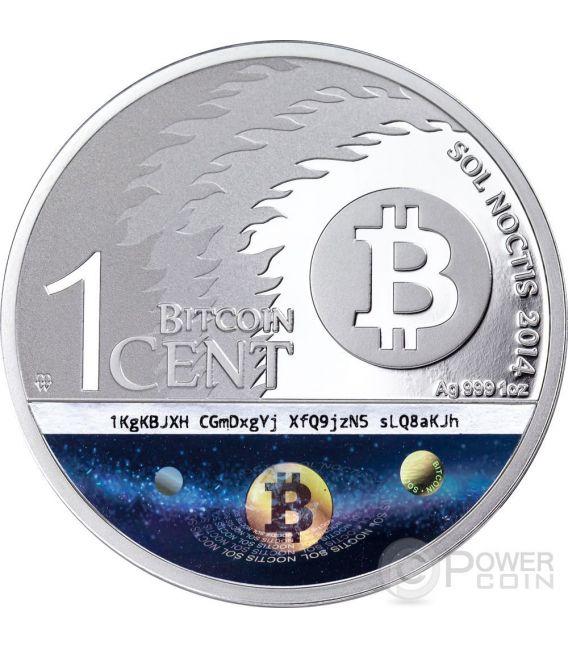 BINARY EAGLE Aquila Bitcoin Sol Noctis E-Beam Nanogram Moneta Argento 1 BTC Cent 2014