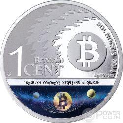 BINARY EAGLE Bitcoin Sol Noctis E-Beam Nanogram Moneda Plata 1 BTC Cent 2014