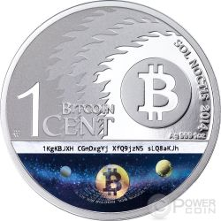 BINARY EAGLE Bitcoin Sol Noctis E-Beam Nanogram Серебро Монета 1 BTC Cent 2014