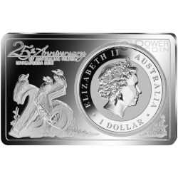 KOOKABURRA 25th Anniversary 1 Oz Plata Proof Moneda 2 Oz Bar 1$ Australia 2015