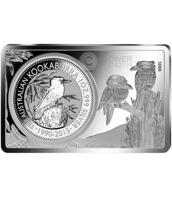 KOOKABURRA 25th Anniversary 1 Oz Silver Proof Coin 2 Oz Bar 1$ Australia 2015