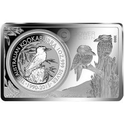 KOOKABURRA 25 Anniversario Moneta 1 Oz Argento Proof 2 Oz Bar 1$ Australia 2015