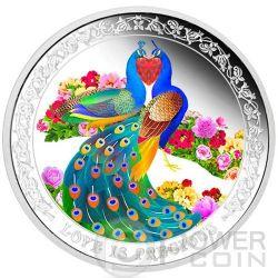 PEAFOWLS Pavone Amore Prezioso Moneta Argento 2$ Niue 2015