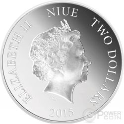 PEAFOWLS Love Is Precious Plata Proof Moneda 2$ Niue 2015