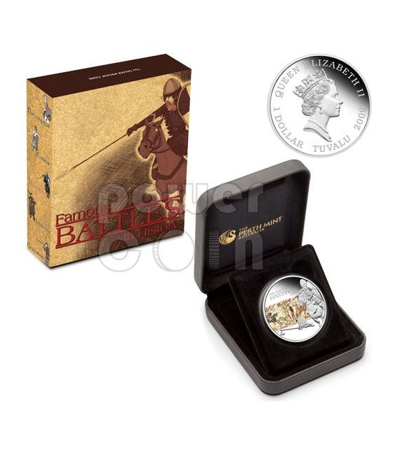HASTINGS Battle 1066 Moneda Plata 1$ Tuvalu 2009