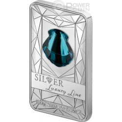 LUXURY LINE Turquoise Shell Swarovski Silver Proof Coin 100 grams 20$ Cook Islands 2015
