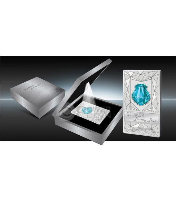 LUXURY LINE Turquoise Shell Swarovski Silber Proof Münze 100 grams 20$ Cook Islands 2015