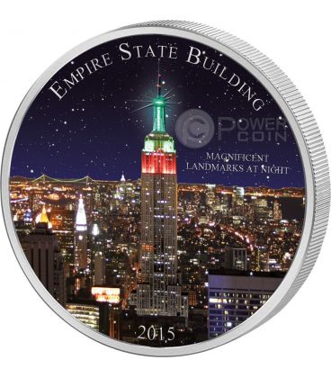 EMPIRE STATE BUILDING World Famous Landmarks Grattacielo Moneta Argento 2 Oz 1500 Francs Camerun 2015