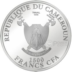 EMPIRE STATE BUILDING World Famous Landmarks Ultraviolet 2 Oz Silver Coin 1500 Francs Cameroon 2015