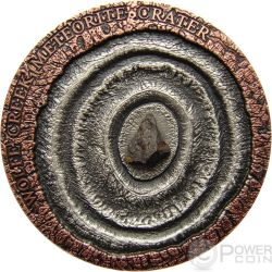 METEORITE WOLFE CREEK Meteor Crater Moneta Argento 1$ Niue 2015
