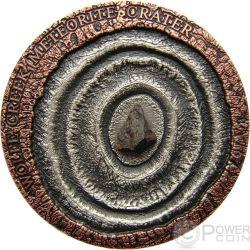 METEORITE WOLFE CREEK Meteor Crater Silver Coin 1$ Niue Island 2015