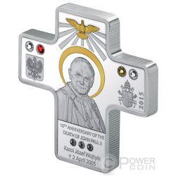 JOHN PAUL II Pope Cross Shaped Karol Wojtyla 10th Anniversary Silver Coin 5$ Cook Islands 2015