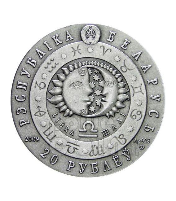 BILANCIA Oroscopo Zodiaco Swarovski Moneta Argento Bielorussia 2009