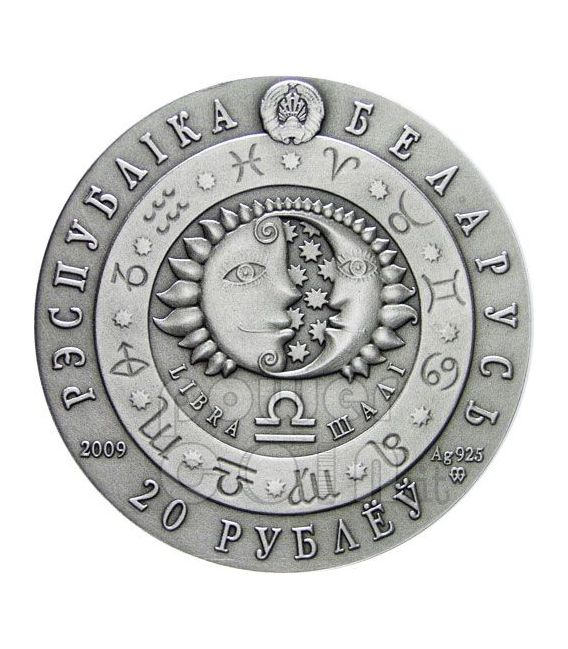 LIBRA Horoscope Zodiac Swarovski Silber Münze Belarus 2009